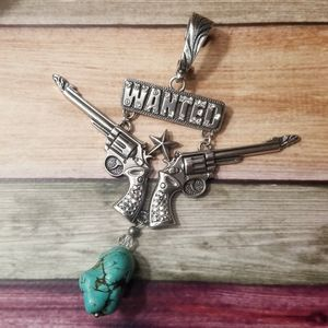 Wanted Silver Guns and Turquoise Pendant